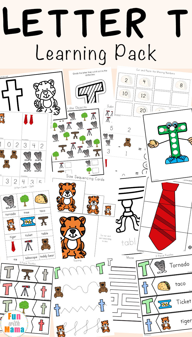 Letter T Worksheets For Preschool And Kindergarten - Fun With Mama - Letter T Puzzle Printable