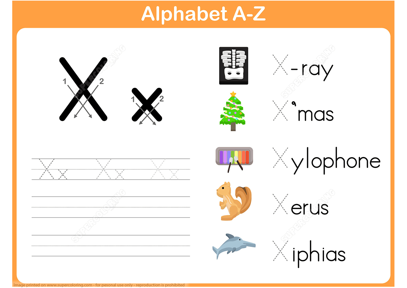 Letter X Tracing Worksheet | Free Printable Puzzle Games - X Puzzle Worksheet