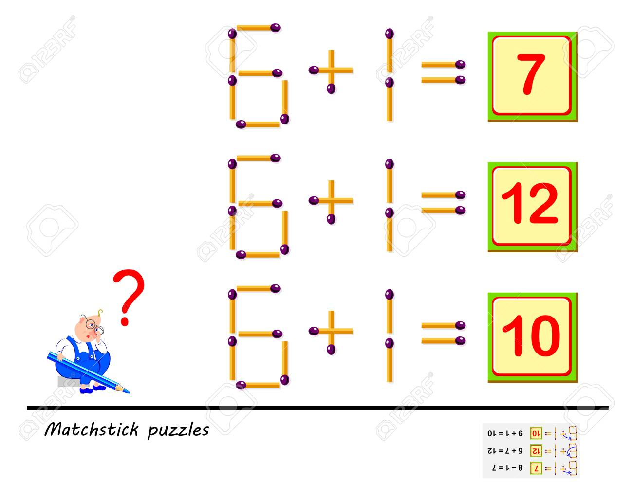 Logic Puzzle Game. In Each Task You Must Move 1 Matchstick To - Printable Matchstick Puzzles