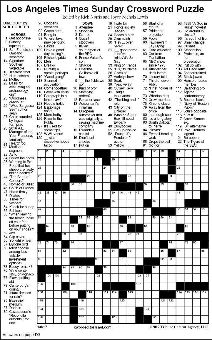 Los Angeles Times Sunday Crossword Puzzle | Features | Timesargus - Los Angeles Times Crossword Puzzle Printable