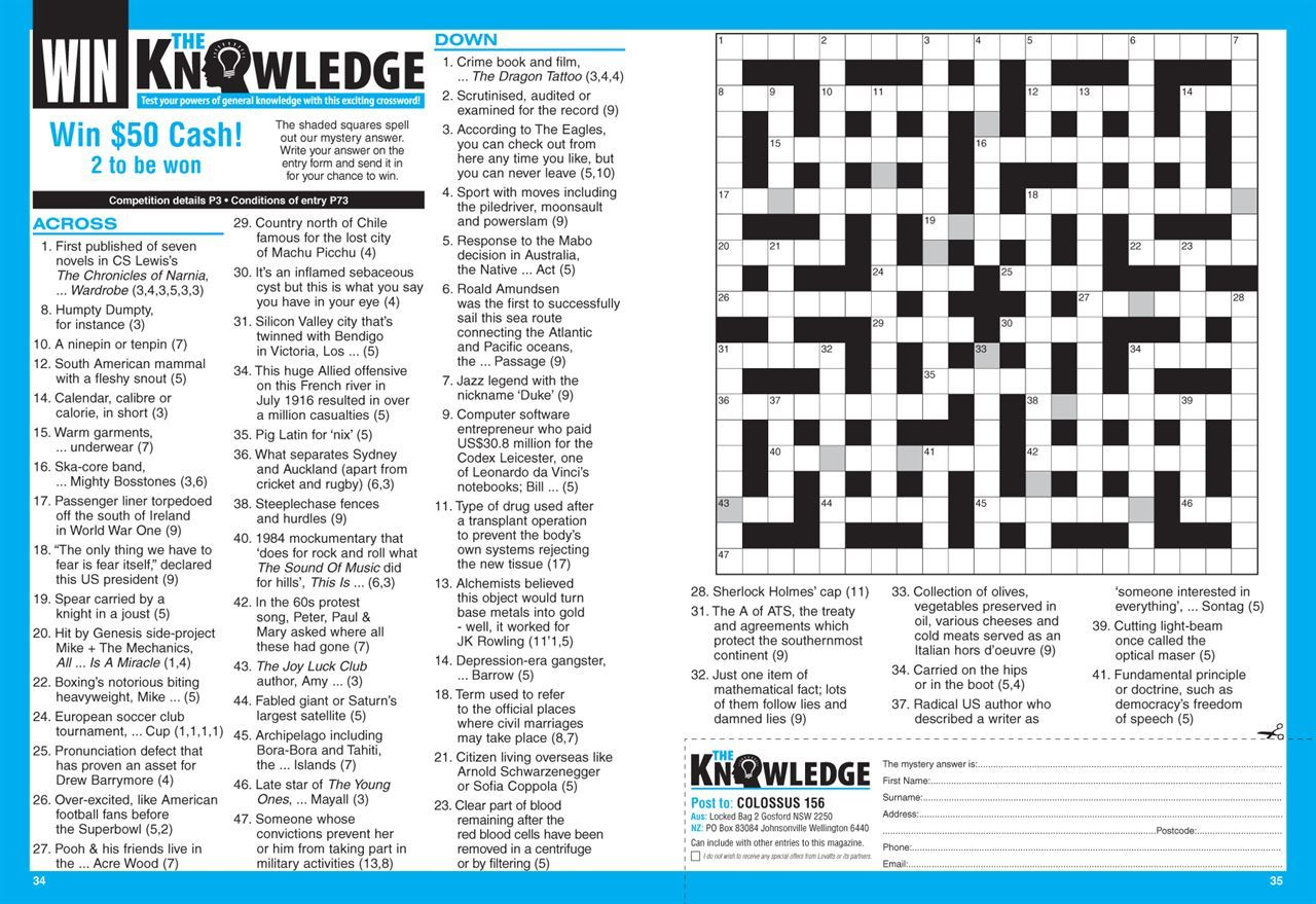 Lovatts Colossus Crosswords (Nz). | Magshop - Printable Cryptic Crossword Puzzles Nz