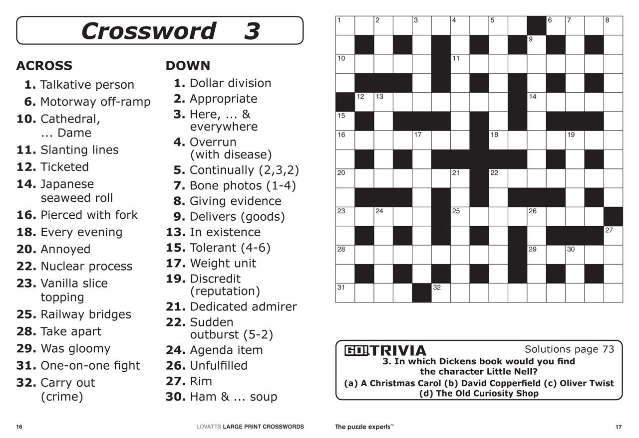 Lovatts Large Print Crosswords (Nz). | Magshop - Print Puzzle Nz