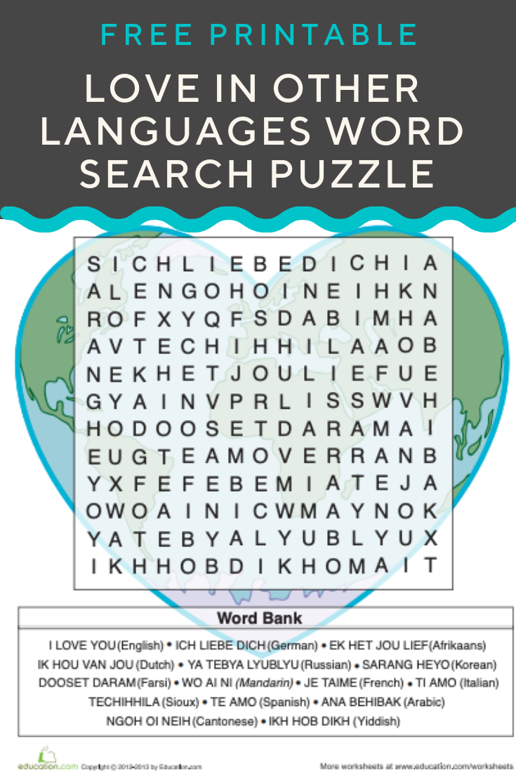 Love In Other Languages   Recently Pinned   Valentines Day Words - Printable Crossword Puzzles In Afrikaans