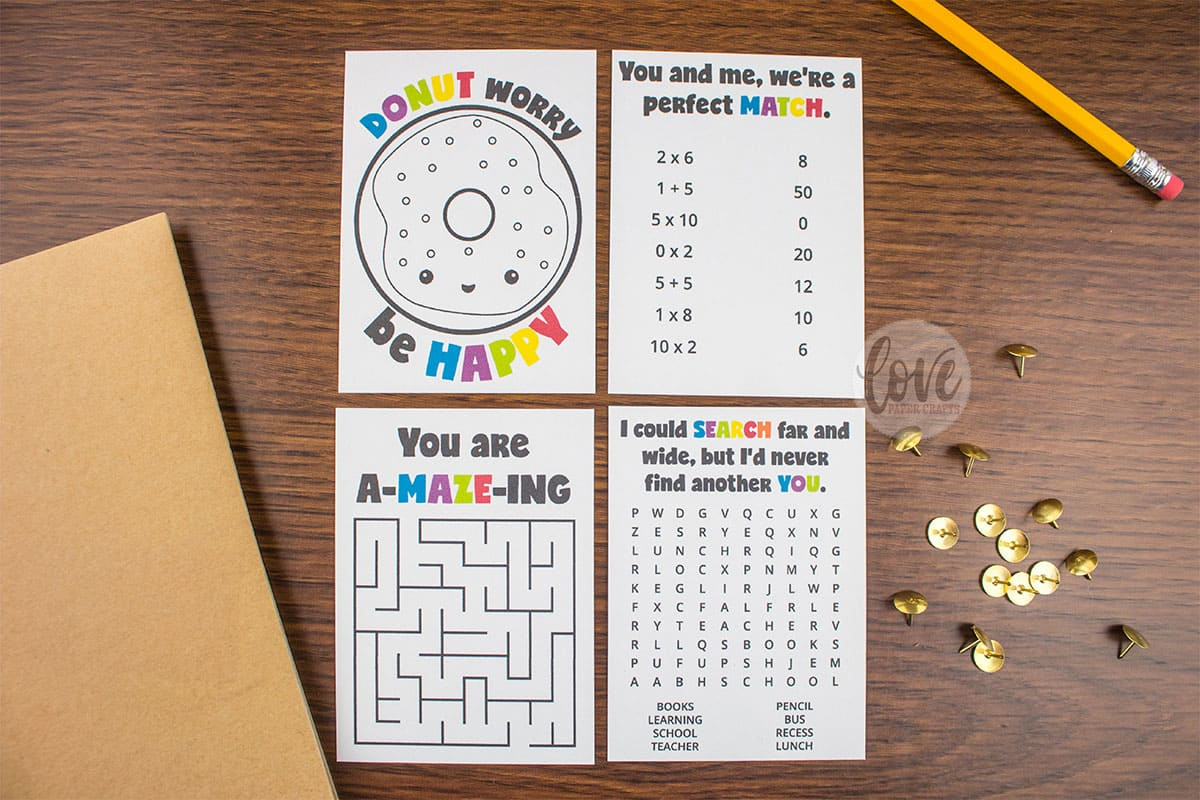 Lunch Box Activity And Puzzle Notes - Love Paper Crafts - Printable Paper Puzzles