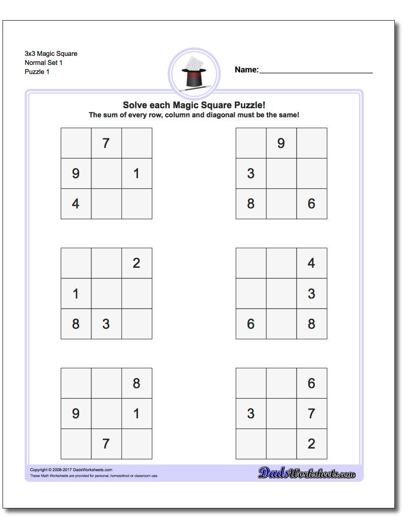 Magic Square Puzzles This Page Has 3X3, 4X4 And 5X5 Magic Square - Printable Kenken Puzzles 4X4