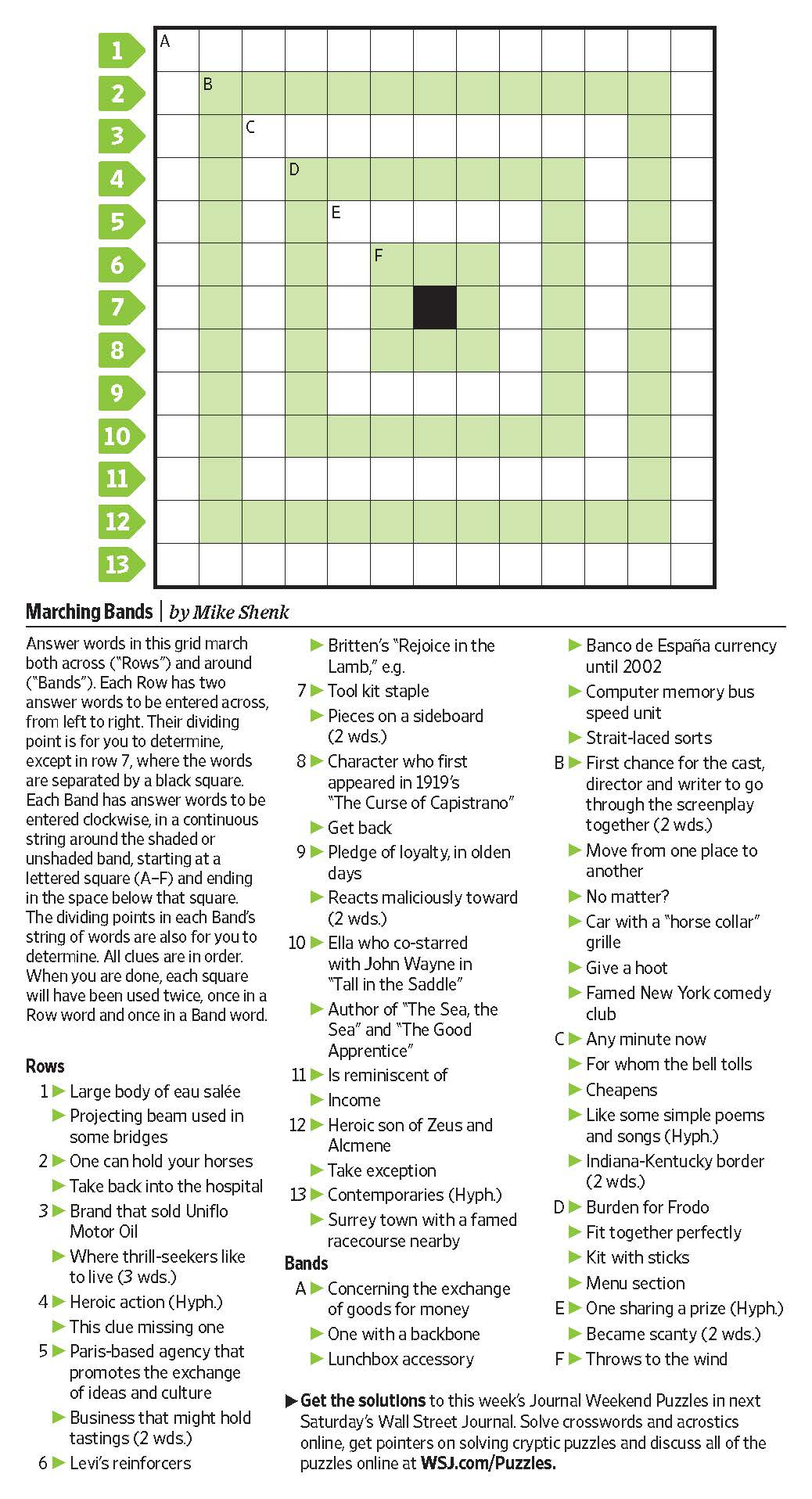 Marching Bands (Saturday Puzzle, Jan. 7) - Wsj Puzzles - Wsj - Printable Wall Street Journal Crossword Puzzle