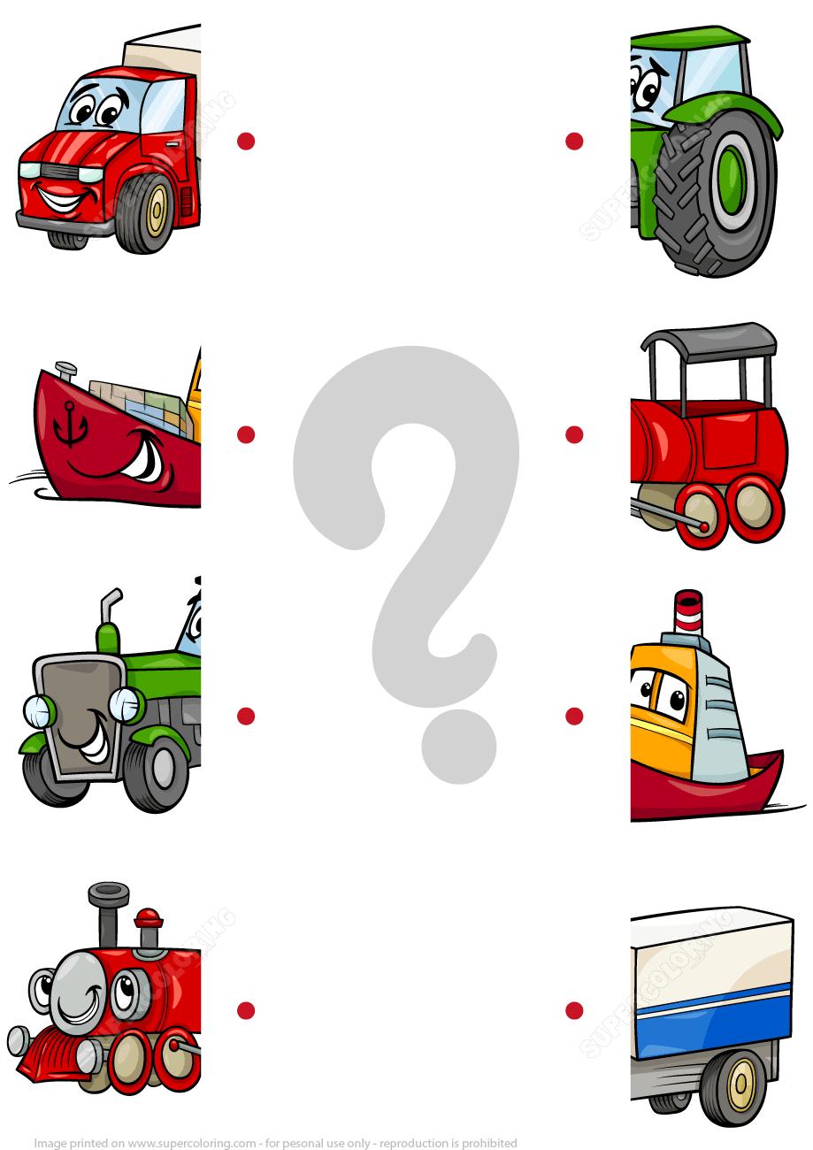 Matching Halves Worksheet With Cartoon Transport   Free Printable - Printable Transportation Puzzles