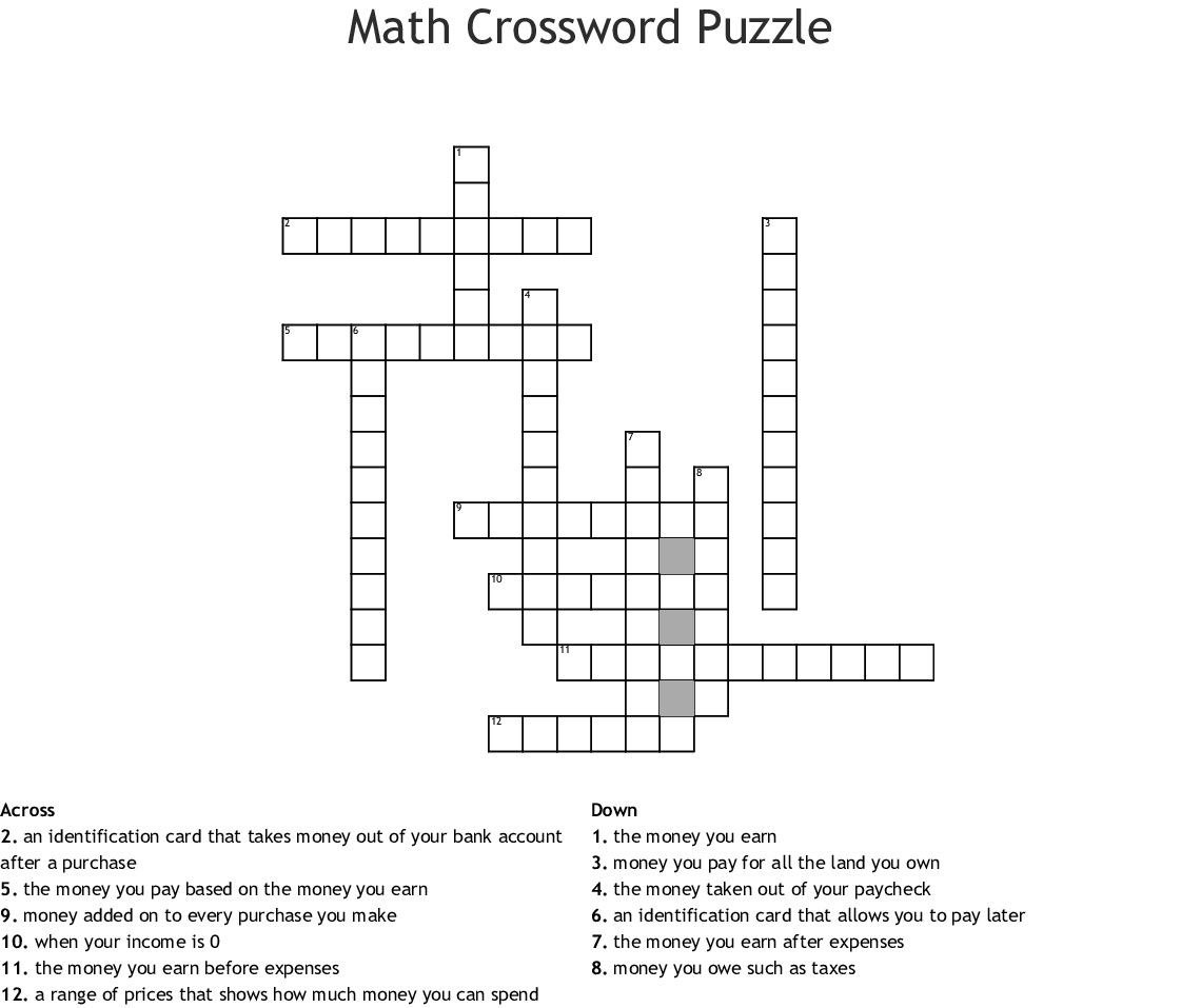 Math Crossword Puzzle Crossword - Wordmint - Printable Crossword Puzzle Money