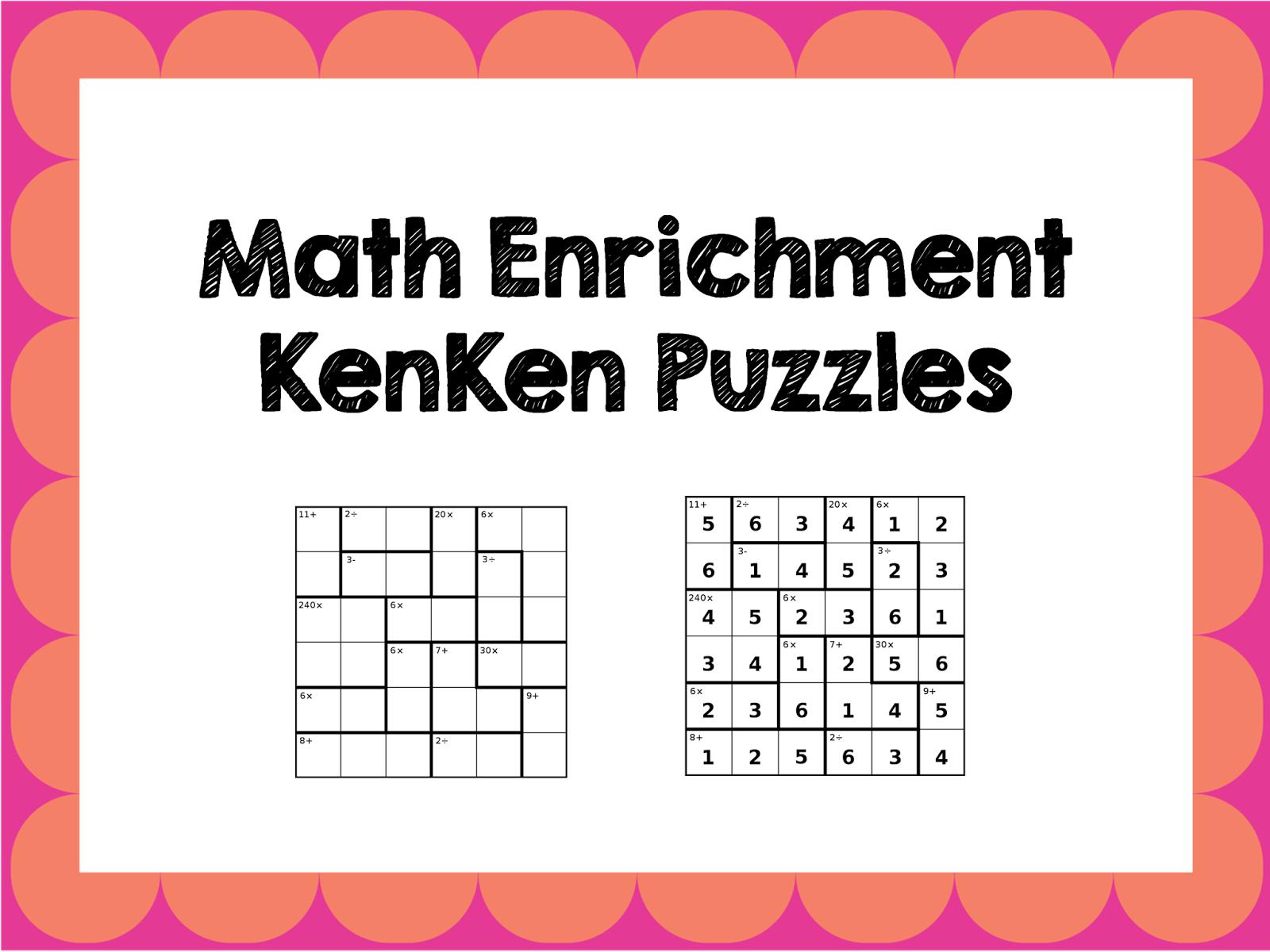 Math Enrichment Freebies - Kenken Puzzles   Ed - Math   Math - Printable Kenken Puzzles