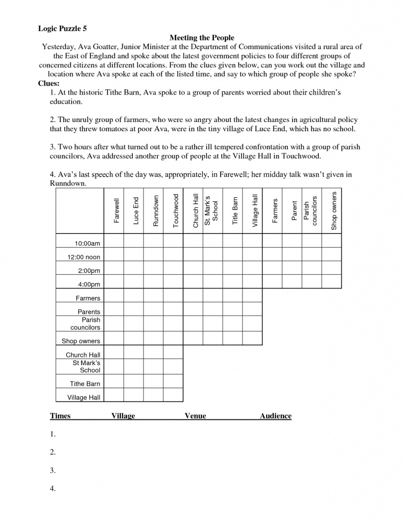 Math Logic Puzzles Worksheets Pdf | Download Them And Try To Solve - Printable Puzzles Adults Logic