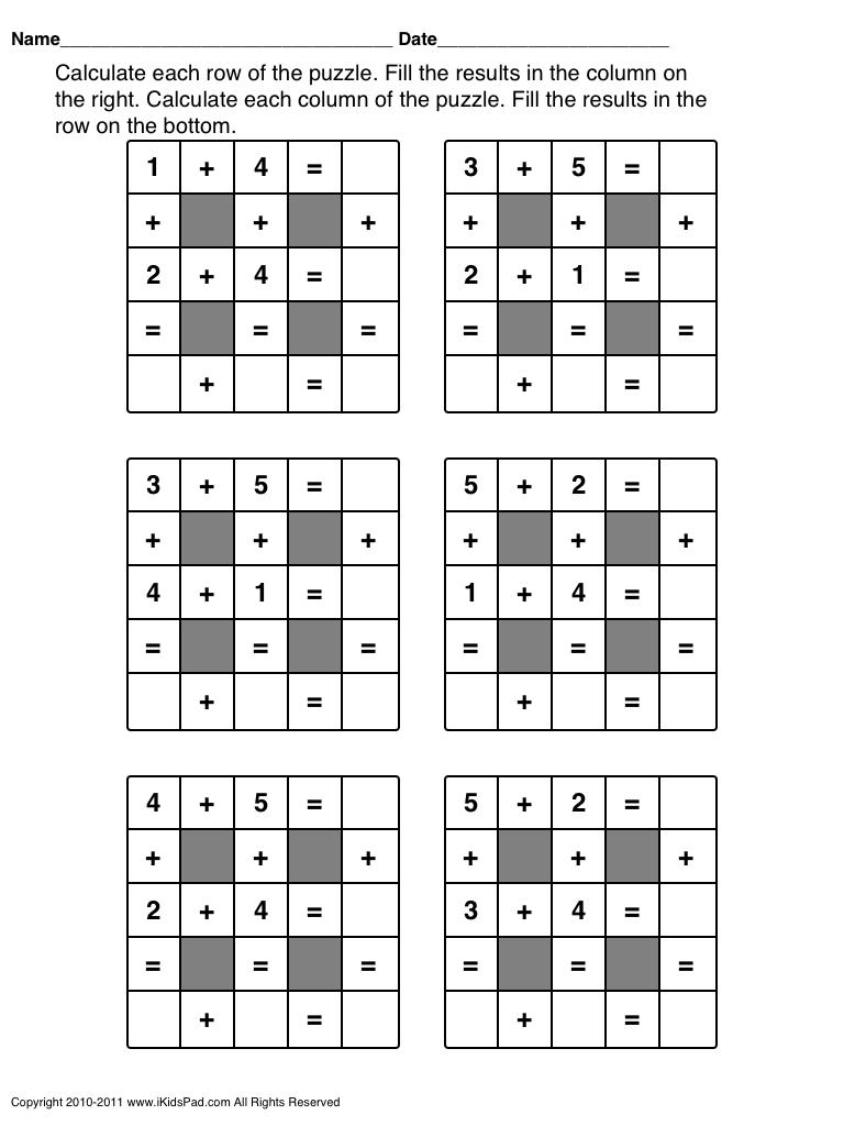 Math Puzzle Activities   Fahmi   Maths Puzzles, Math, Math Games - Printable Math Puzzle Games
