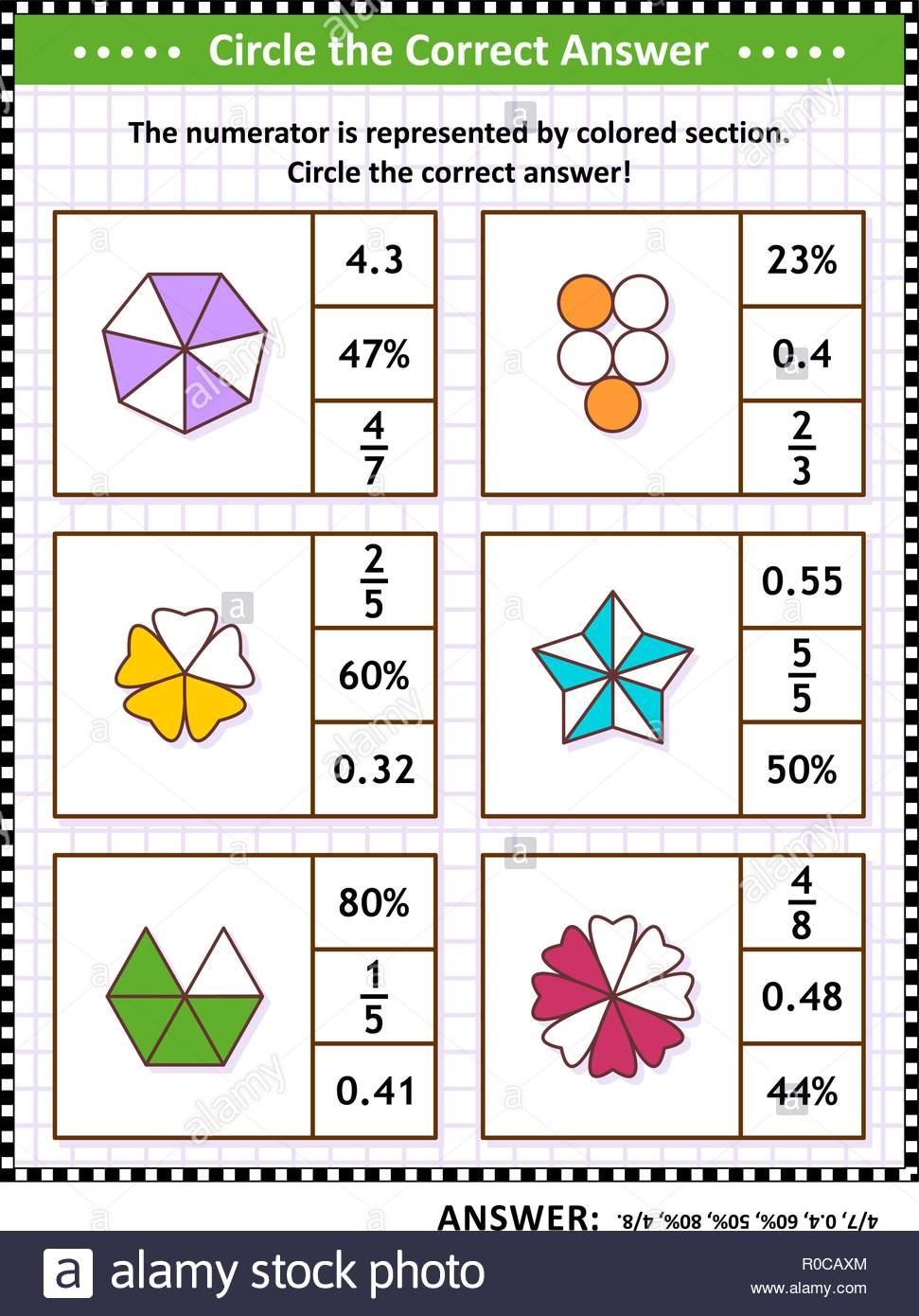 Math Skills Training Visual Puzzle Or Worksheet. Circle The Correct - Worksheet Visual Puzzle