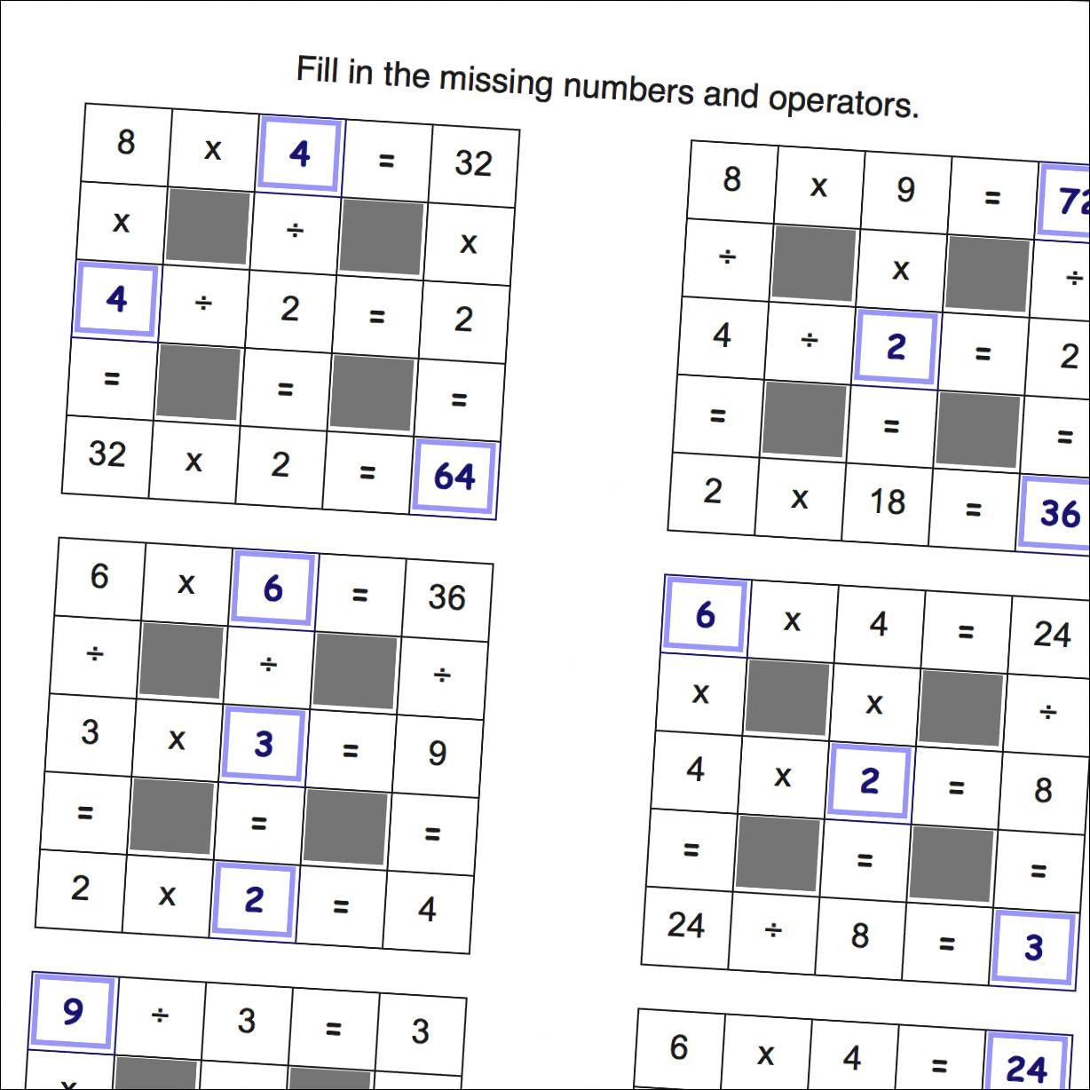 Math Worksheets: Multiplication And Division Grid Puzzle Worksheets - Printable Cross Number Puzzle