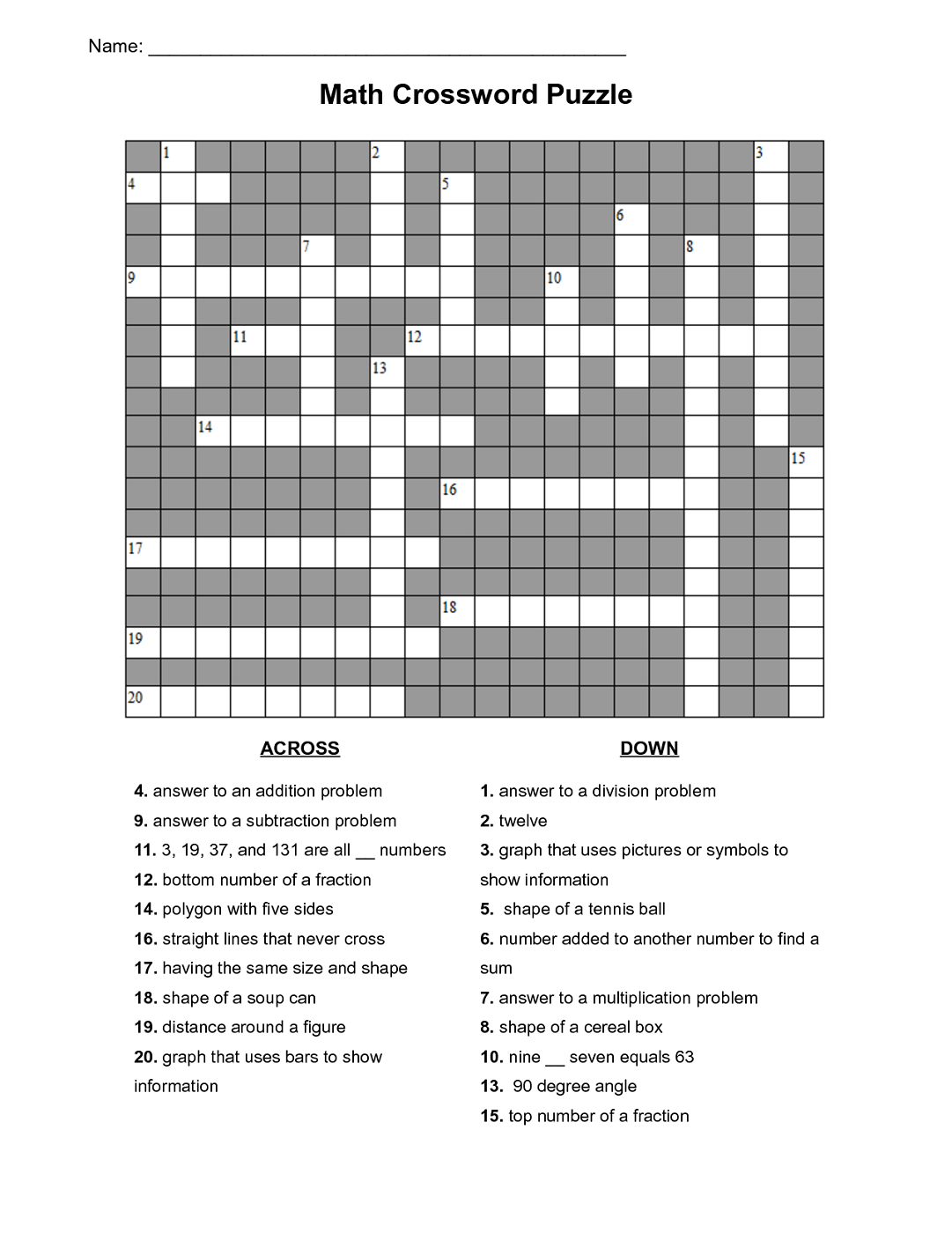 Maths Puzzles For Kids Crossword | Activities | Maths Puzzles, Kids - Free Printable Crossword Puzzle #7 Answers