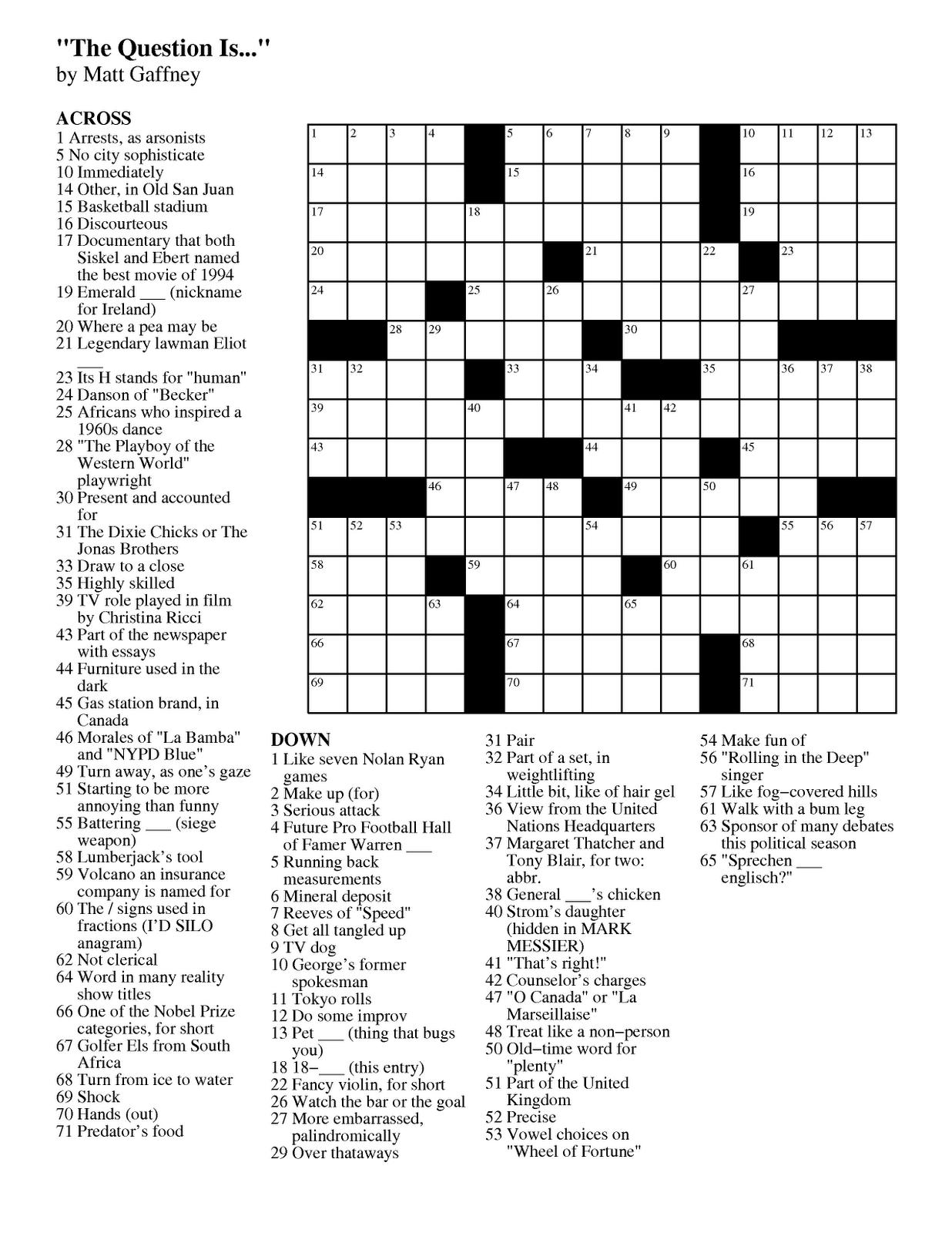 Matt Gaffney's Weekly Crossword Contest: Mgwcc #192 -- Friday - Printable Crossword Puzzles Chicago Tribune