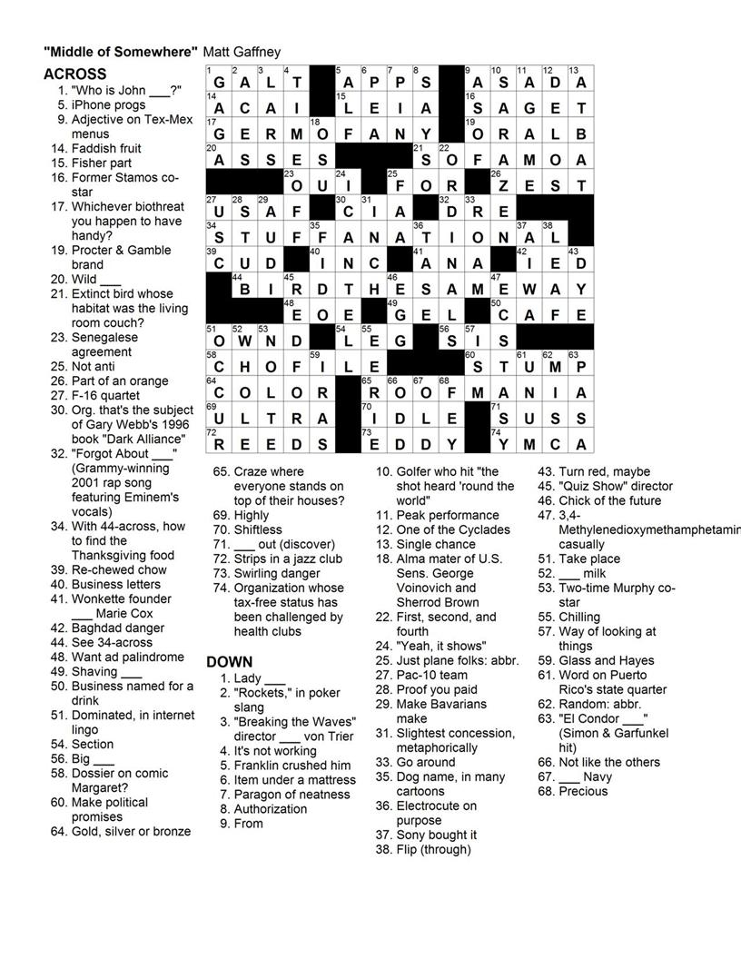 Matt Gaffney's Weekly Crossword Contest: November 2009 - Frank A Longo Printable Crossword Puzzles
