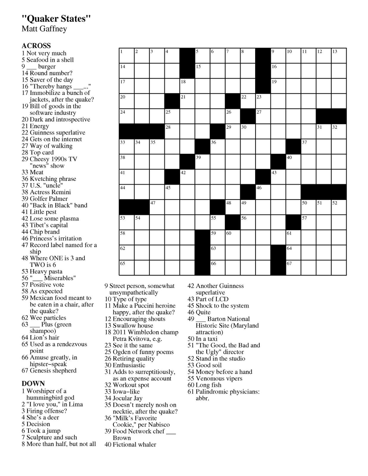 Matt Gaffney's Weekly Crossword Contest: September 2011 - Star Tribune Crossword Puzzle Printable