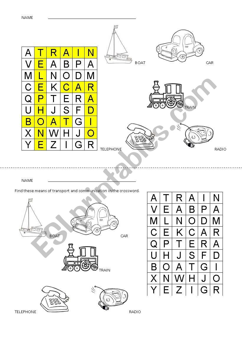 Means Of Transport And Communication Crossword - Esl Worksheet - Printable Communication Crossword Puzzle