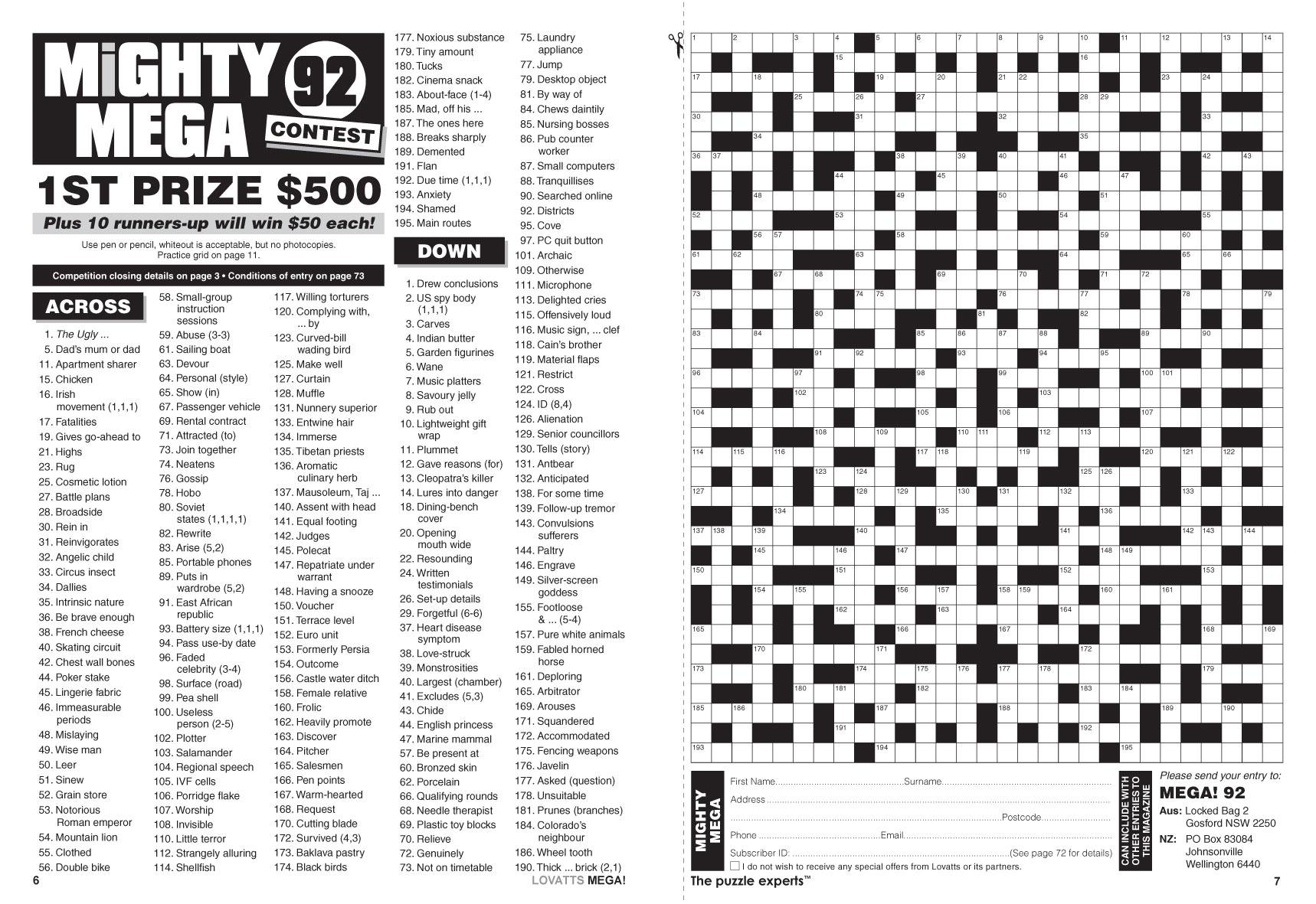 Mega! Crosswords Magazine - Lovatts Crosswords & Puzzles - Printable Cryptic Crossword Puzzles Nz