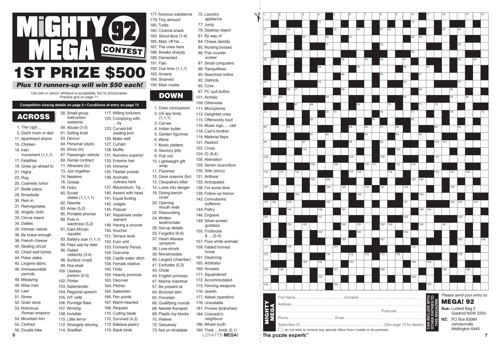Mega! Crosswords Magazine - Lovatts Crosswords & Puzzles - Printable Lovatts Crosswords