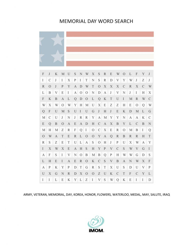 Memorial Day Word Search - Imom - Memorial Day Crossword Puzzle Printable