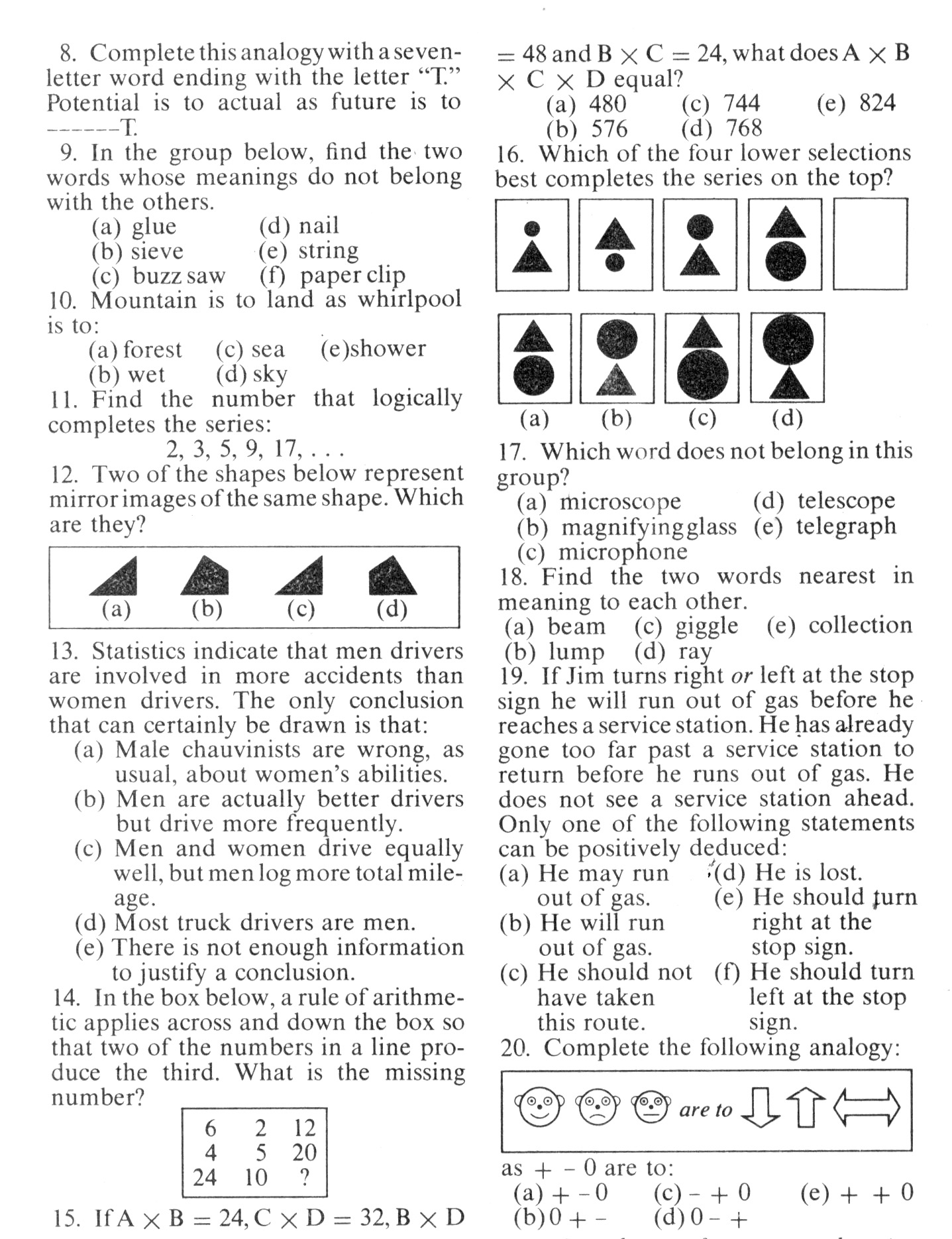 Mensa Test #4 - Printable Mensa Puzzles