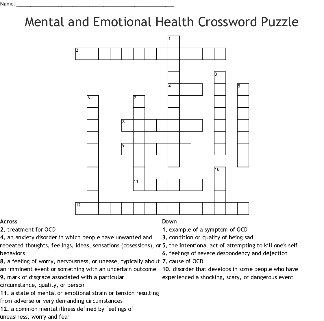 Mental And Emotional Health Crossword Puzzle Crossword - Wordmint - Printable Crossword Puzzles For Mental Health