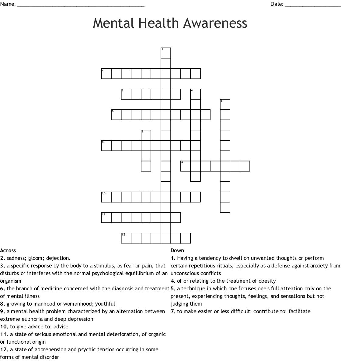 Mental Health Awareness Crossword - Wordmint - Printable Mental Health Crossword Puzzle