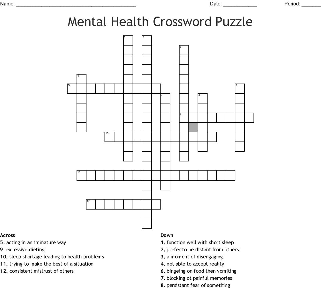 Mental Health Crossword Puzzle Crossword - Wordmint - Printable Mental Health Crossword Puzzle