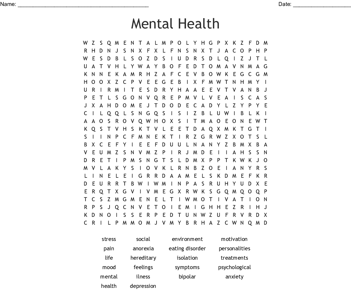 Mental Health Word Search - Wordmint - Printable Crossword Puzzles For Mental Health