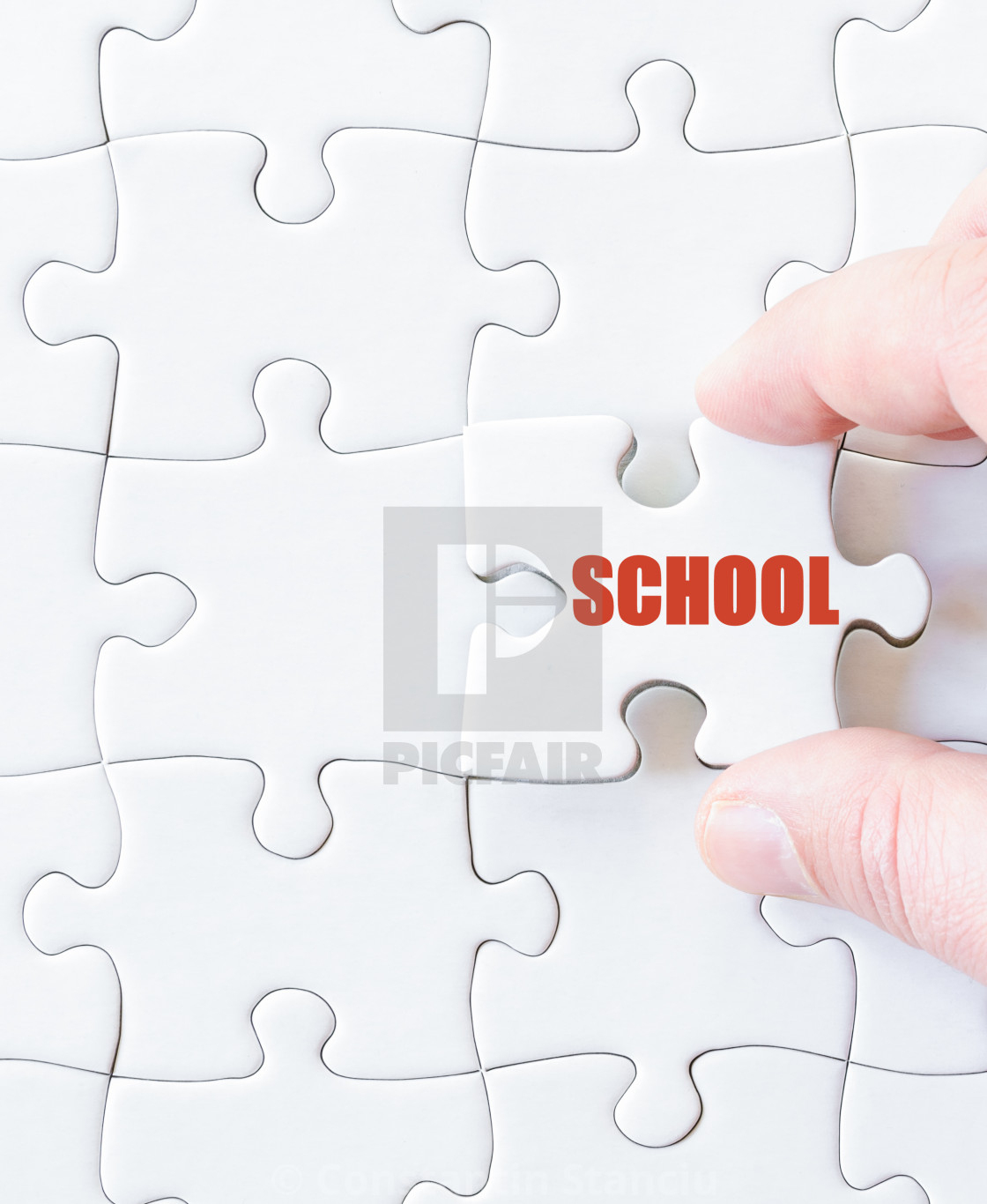 Missing Jigsaw Puzzle Piece With Word School - License, Download Or - Print Missing Puzzle Piece