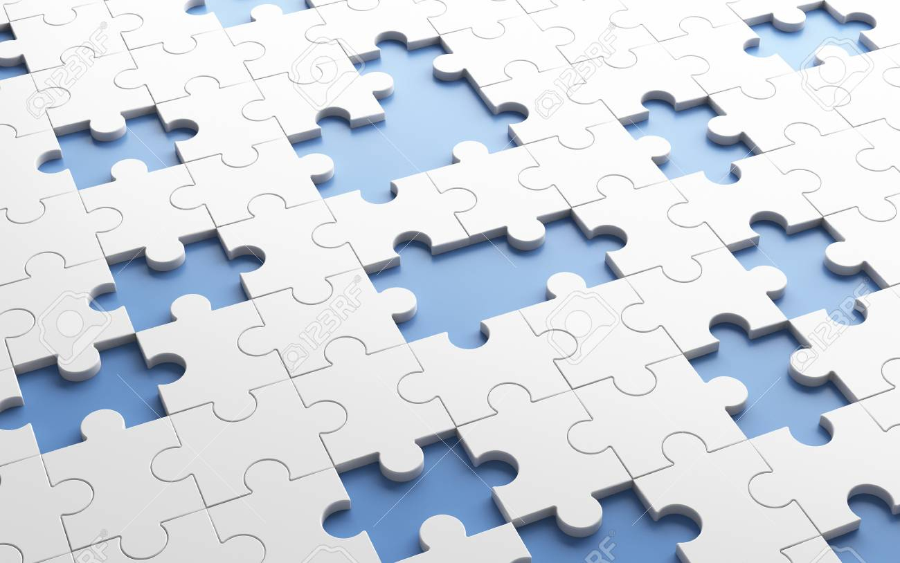 Missing Jigsaw Puzzle Pieces In Unfinished Work Concept. White - Print Missing Puzzle Piece