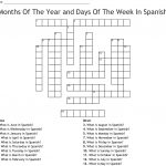 Months Of The Year And Days Of The Week In Spanish Crossword   Wordmint   Printable Spanish Crossword Puzzle