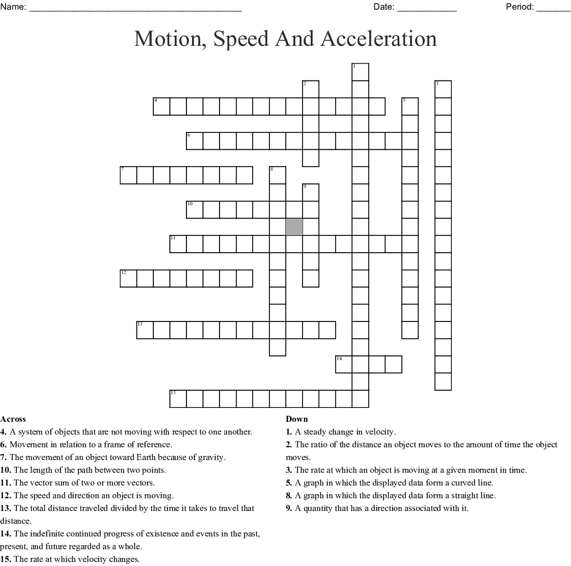 Motion, Speed And Acceleration Crossword - Wordmint - Printable 2 Speed Crossword