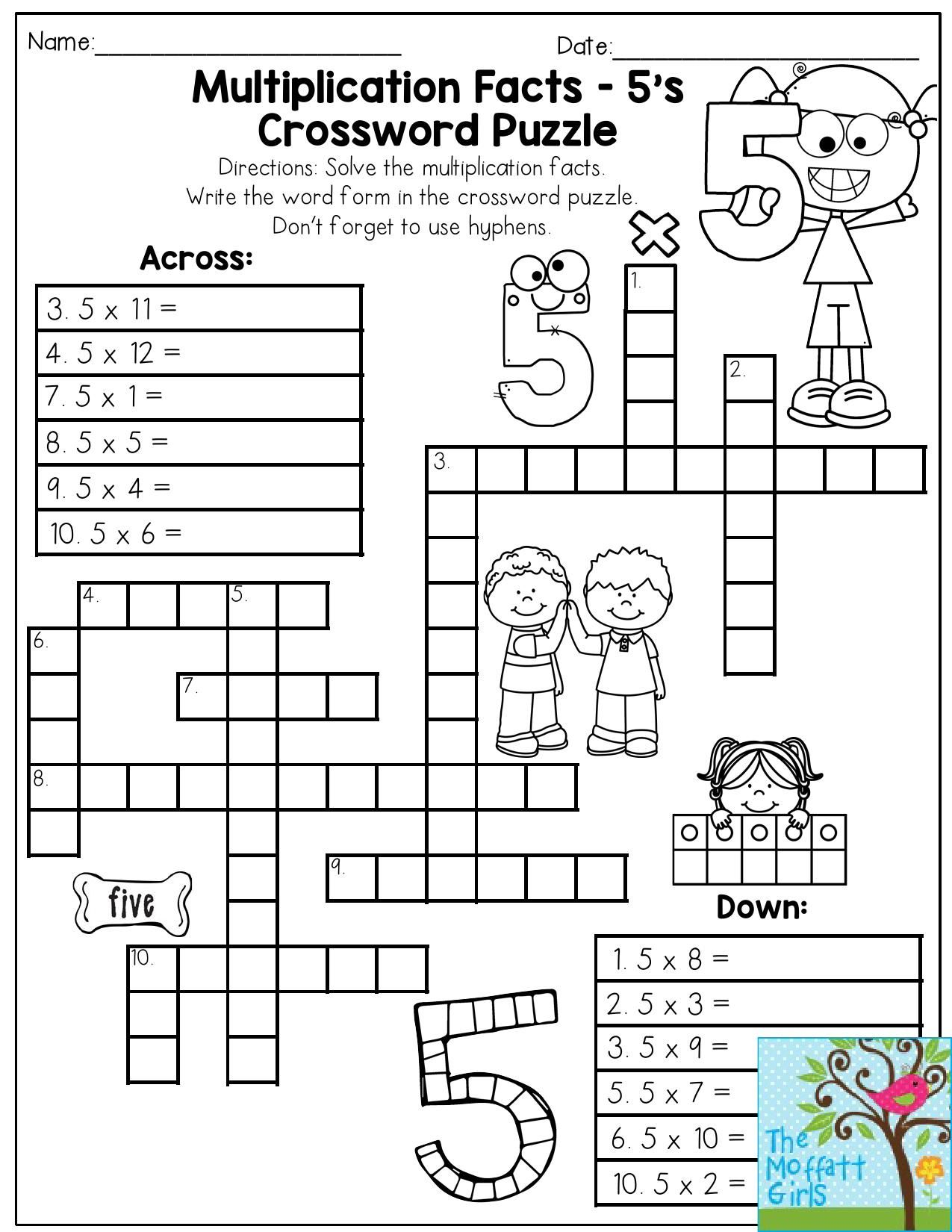 Multiplication Facts Crossword Puzzle- Third Grade Students Love - Grade 1 Crossword Puzzles Printable