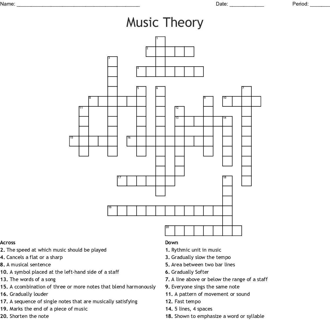 Music Theory Crossword - Wordmint - Printable Crossword Puzzles About Music