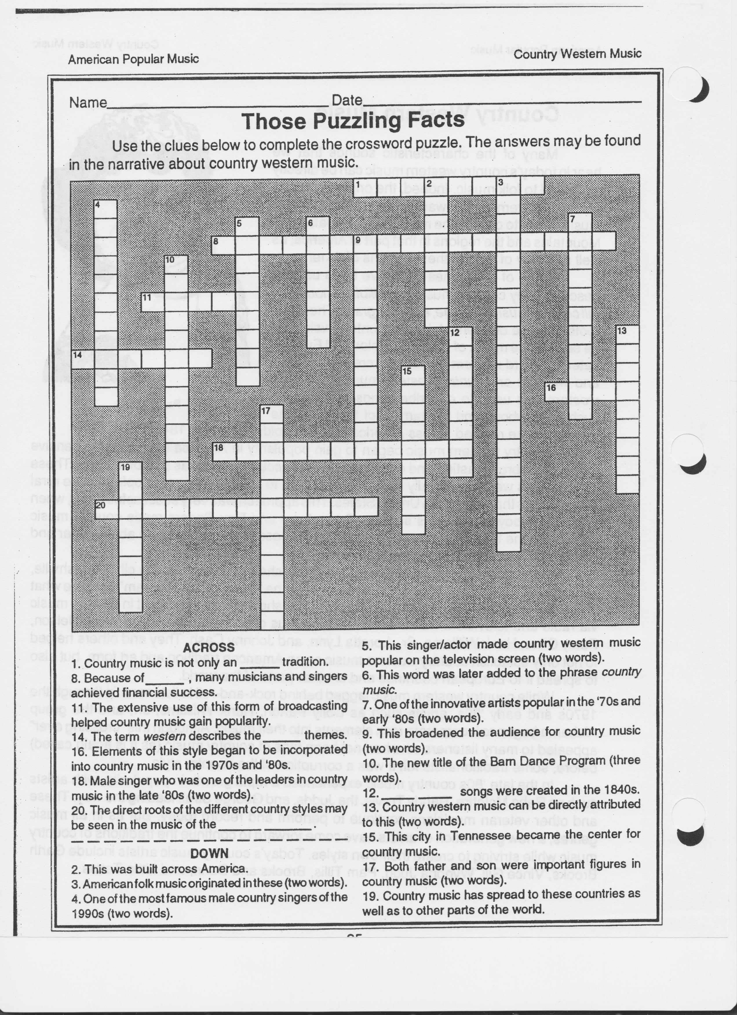 Music Worksheets - Printable Crossword Puzzles Music