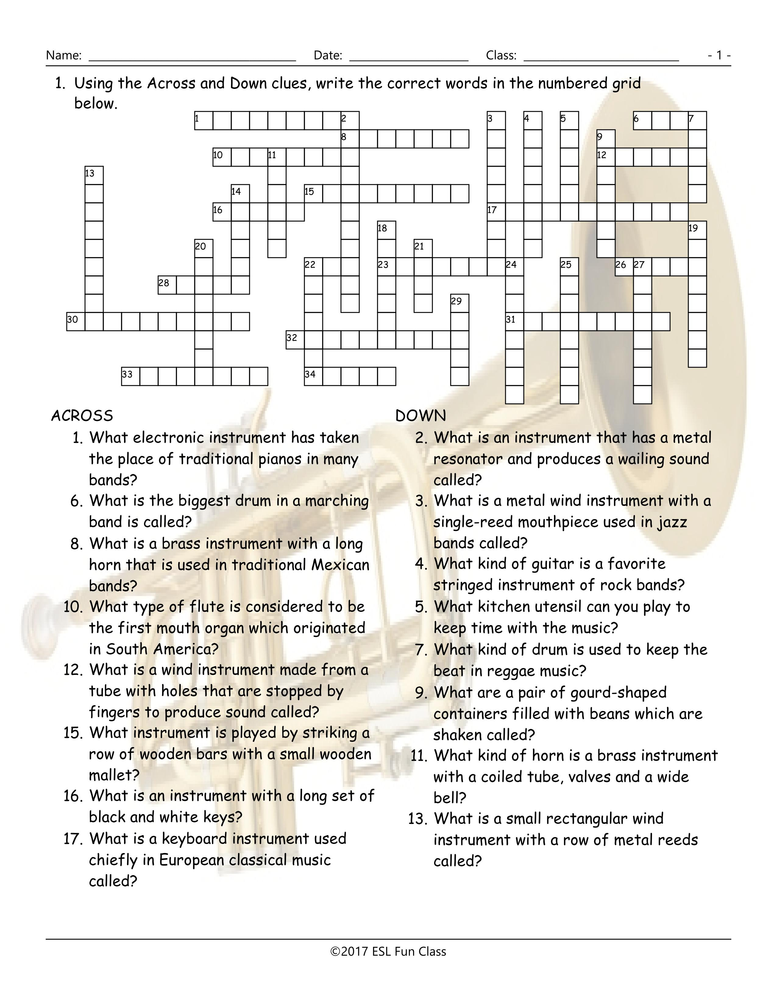 Musical Instruments Crossword Puzzle Worksheet-Esl Fun Games-Have Fun! - Printable Esl Crossword Puzzles