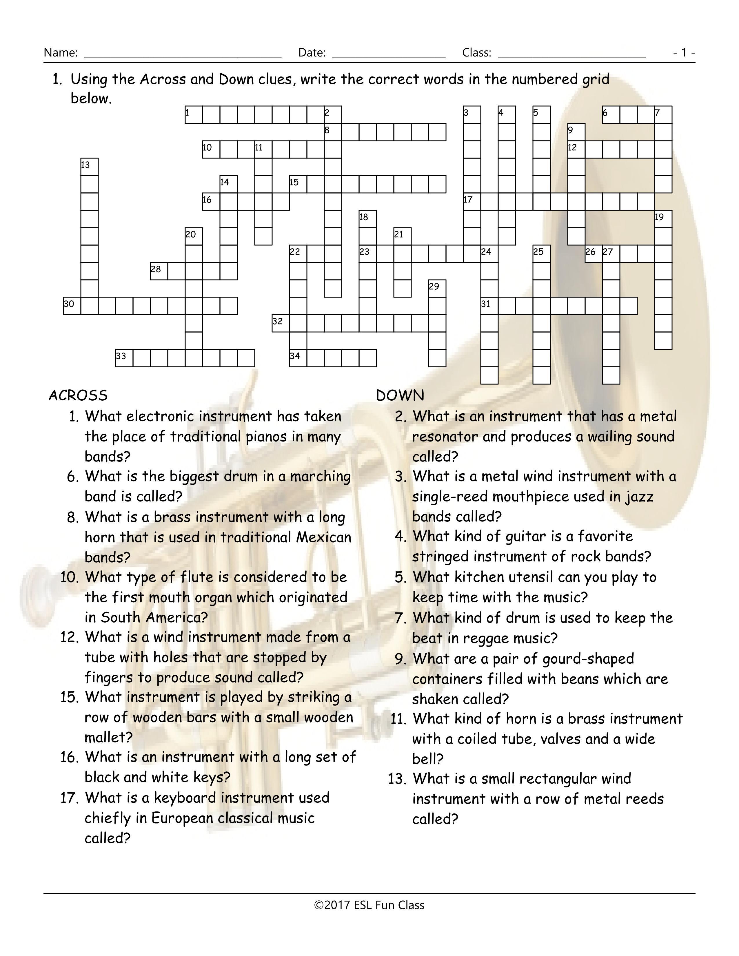 Musical Instruments Crossword Puzzle Worksheet-Esl Fun Games-Have Fun! - Printable Esl Crossword Worksheets