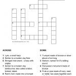 Musical Instruments In The Bible Crossword With Answer Sheet   Printable Bible Crossword Puzzles For Youth