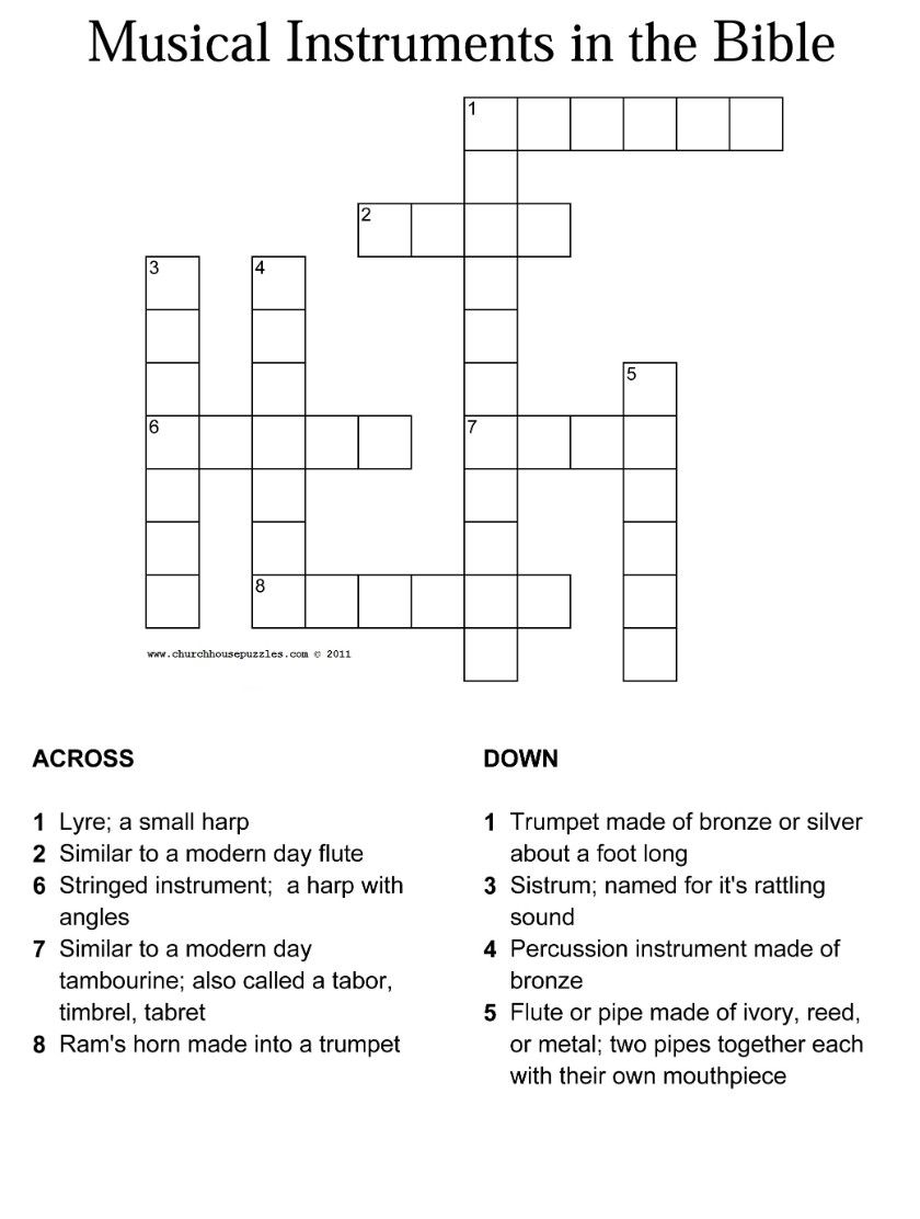 Musical Instruments In The Bible Crossword With Answer Sheet - Printable Bible Crossword Puzzles With Answers