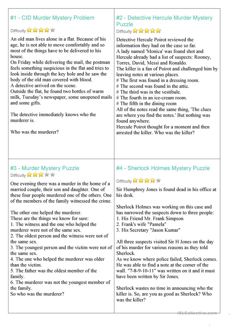 Mystery Riddles Game Worksheet - Free Esl Printable Worksheets Made - Printable Mystery Puzzles