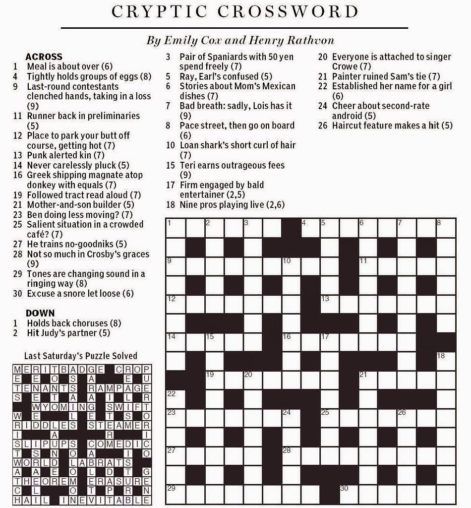 National Post Cryptic Crossword - Cox & Rathvon August 9, … | Flickr - Printable Crossword Puzzles Boston Globe