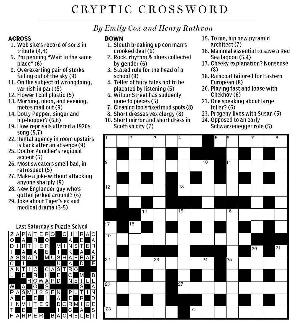 National Post Cryptic Crossword Forum: Saturday, April 7, 2012 - Printable Cryptic Crossword