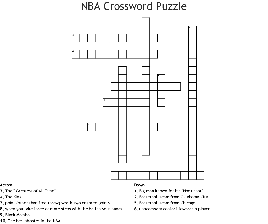 Nba Crossword Puzzle Crossword - Wordmint - Printable Nfl Crossword Puzzles