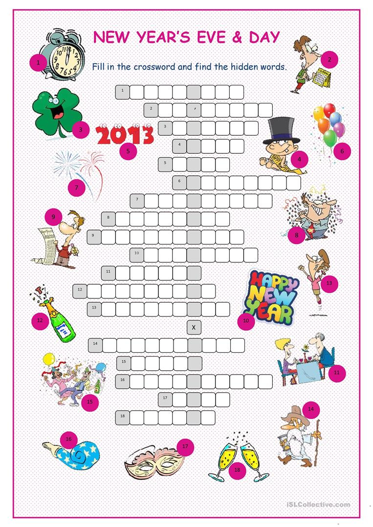 New Year's Eve &day Crossword Puzzle Worksheet - Free Esl Printable - Printable New Year's Crossword Puzzle