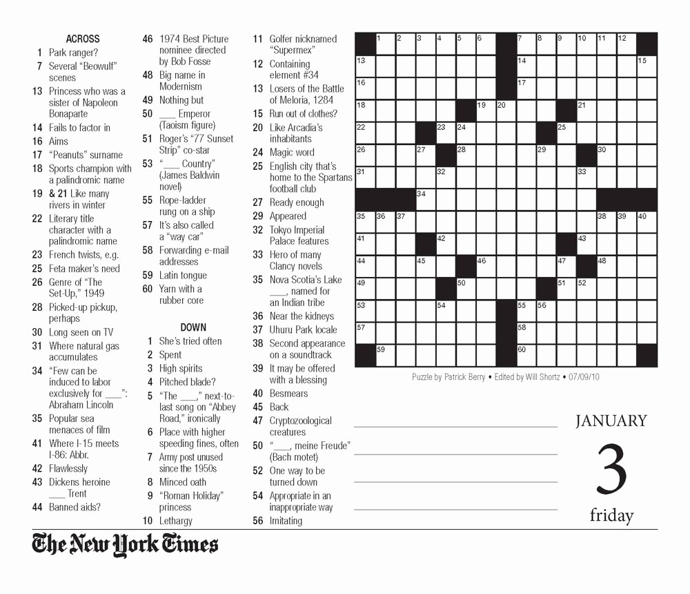 New York Times Sunday Crossword Printable – Rtrs.online - Printable Crossword Puzzles New York Times
