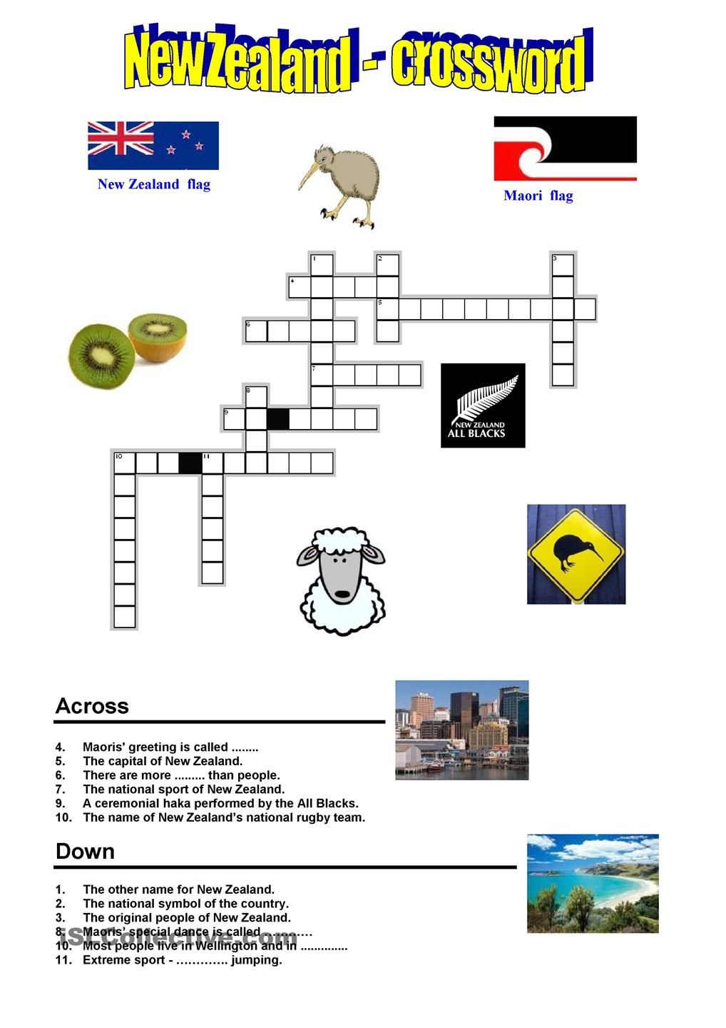 New Zealand - Crossword | Preschool :) | New Zealand, Worksheets - Printable Crossword Puzzles Nz