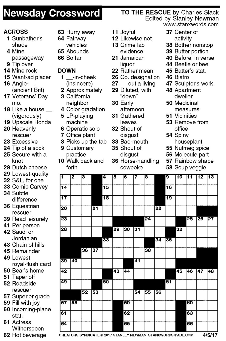 Newsday Crossword Puzzle For Apr 05, 2017,stanley Newman - Printable Crossword Puzzles Newsday