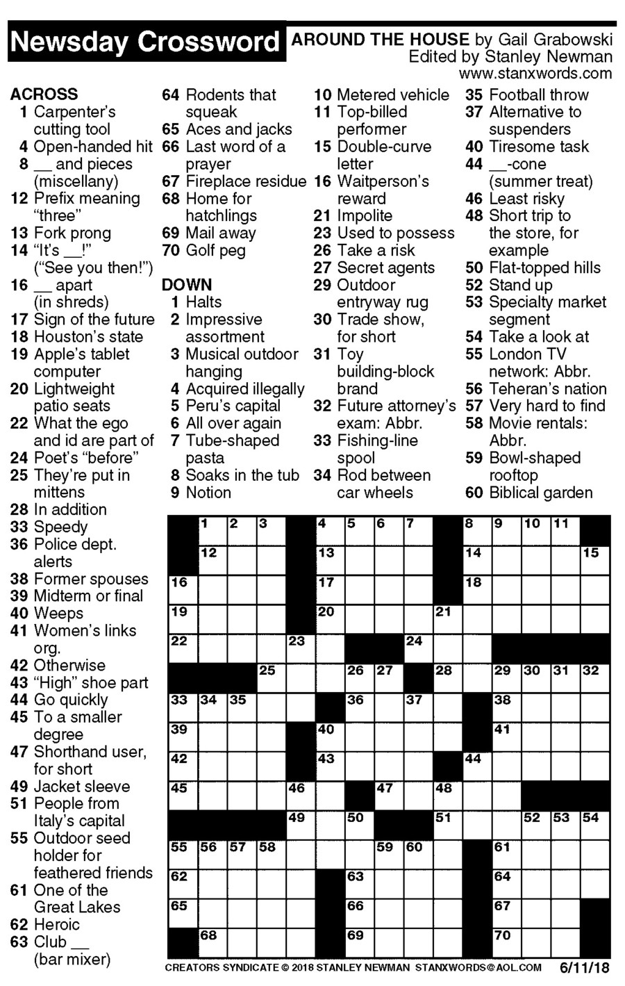 Newsday Crossword Puzzle For Jun 11, 2018,stanley Newman - Printable Crossword Puzzles Newsday